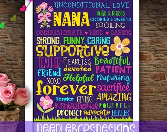 Nana Wall Art- Nana Mothers Day Gift- Mothers Day Gift- Mothers Day Printable- Nana Printable- Nana Subway Art- Nana Printable Art- Family