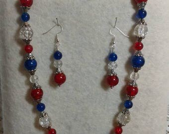 Red, White, and Blue Necklace and Earring Set!!