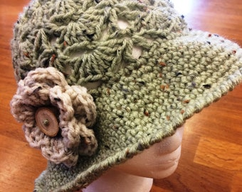 Vintage Style Floral Sun Hat in Sage Green