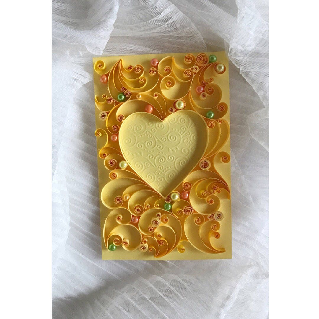 Quilling wedding card - Quilled hear card - Original love gift ...