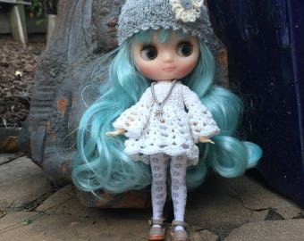 Crochet Middie Blythe dress, 4 piece doll outfit, hand made doll clothes