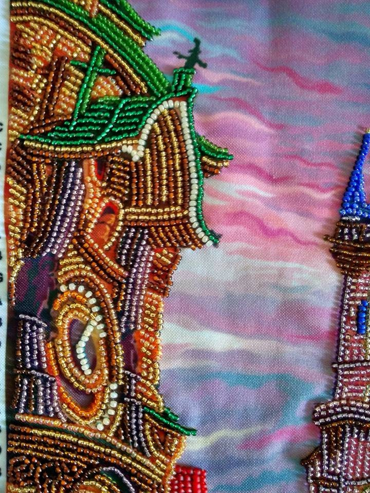 Bead embroidery kit prague through the looking glass