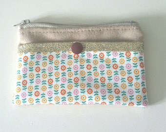 Wallet fabric and camel suede floral vintage fabric with sequins, Pocket for credit card