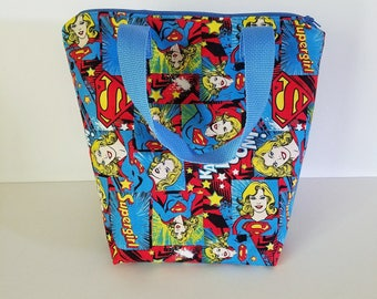 Supergirl lunch bag, Insulated lunch bag, waterproof lunch bag, kids lunch bag, adult lunch bag, lunch tote