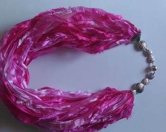 Scarf necklace Pink scarf Scarf women Summer scarf Layered fabric necklace Chunky Necklace