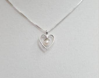 Cultured Pearl Sterling Silver Heart Necklace