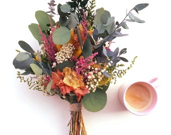 Ramo de flores preservadas eucalipto - flores multicolor - Wedding bouquet made with preserved flowers - Eucalyptus and wild flowers