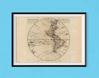L'Hémisphère occidental 1720 | Antique World Map Fine Art Reproduction | Poster of Western Hemisphere