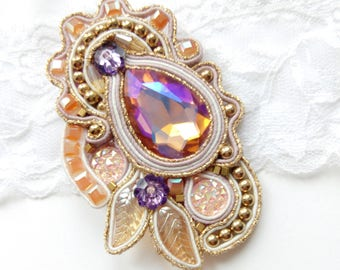Pendant brooch two in one crystal soutache.