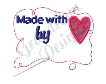 Made With Love By  Label- Machine Embroidery Design