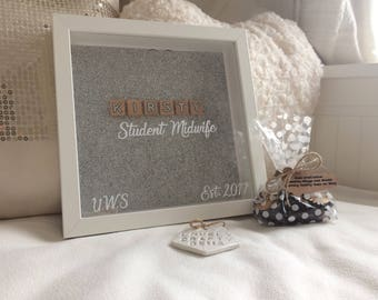 Student Midwife Birth Register, Student Midwife Gift, Student Midwife Frame, Postbox Frame, Graduation Gift, Midwife Gift, Scrabble Frame