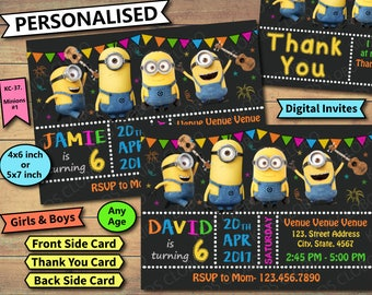 Minion Invitation, Minions Birthday Invite, Minion Birthday Invitation, Minion Birthday Party Invite,  Minion Party Printable, Minion Invite