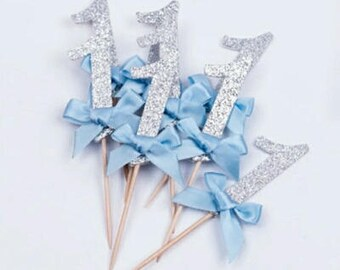 First Birthday Cupcake or Cake Topper - Beautiful Silver Number 1, perfect for First Birthdays - Pkt 10
