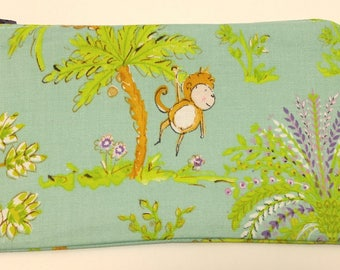 Monkey & Palm Tree Novelty Zipper Pouch - makeup bag; pencil case; gift for her; cosmetic bag; carry all; gadget case; birthday; bridesmaids