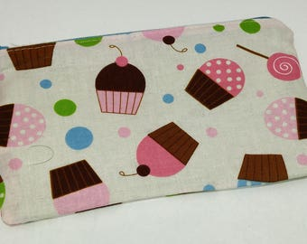 Cute Cupcakes on Pink Novelty Zipper Pouch makeup bag; pencil case; gift for her; cosmetic bag; carry all; gadget case; birthday; doughnuts