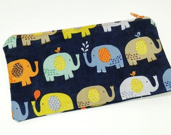 Elephants in a Row Novelty Zipper Pouch - makeup bag; pencil case; gift for her; cosmetic bag; carry all; gadget case; birthday;