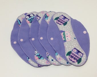 """Owls on Lilac Reusable Pantyliner with Wings (9.5"""") - menstrual pad; panty liner; cloth pads; cotton; washable liner; flannel"""