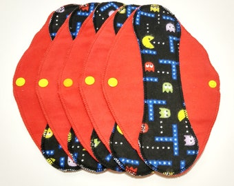 "Pac-Man on Red Reusable Pantyliner with Wings (9.5"") - menstrual pad; panty liner; cloth pads; cotton; washable liner; flannel"