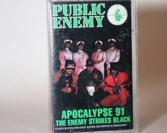 PUBLIC ENEMY Apocalypse 91 cassette tape 1991 Def Jam Anthrax Chuck D Flavor Flav