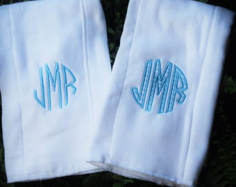 Set of TWO monogrammed and applique burp cloths