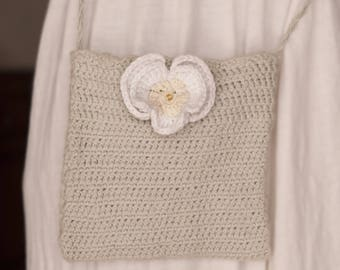 Small bag crochet with pansy flower. Hand made French craft