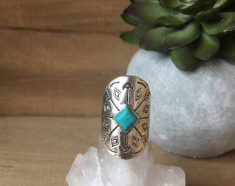 Bohemian Turquoise and Silver Ring with Arrow Embellishments