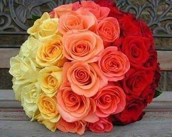 Rose wedding bouquet, colorful, brides, bridesmaids