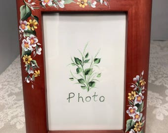 Hand Painted Wood Photo Frame