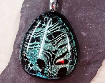 Dichroic Black and Green Fused Glass Pendant