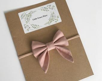 Pink Linen Sailor Bow