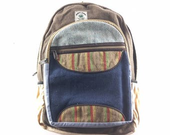 Nepal Himalayan hand crafted Hemp backpack laptop bag rucksack eco friendly