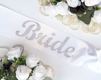 Crystal Bride Sash, Rhinestone Satin Bridal Sash, Bride To Be Sash, Bride Sash, Wedding Sash, Bachelorette Party Sash, Bling
