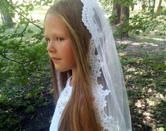 First Communion Veil, White holy communion, Little girls veil with beaded, Confirmation Veil, Baptism Veil, Lace Communion Veils Girls Veil