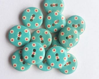 10 x 15mm sky blue red and white polka dot wooden buttons