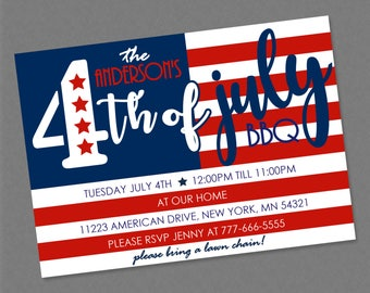 Fourth of July American Flag BBQ Celebration Party Invitation - 4th Independance Day Red White Blue Firework Barbecue