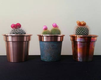 Set Of 3  4 Inch Handmade Solid Copper Plant Pots / Planters