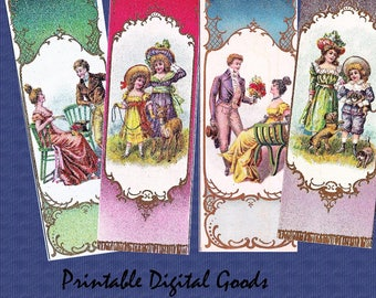 Set of 4 Vintage Bookmarks , reader gift.