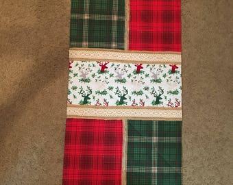 Plaid & Burlap Christmas Table Runner