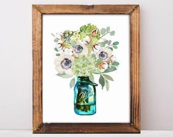 Hydrangea, Anemones, Eucalyptus Leaves, Farmhouse Decor, Farmhouse Signs, Fixer Upper, Floral Art Print, Printable Art, Digital Download