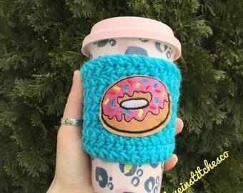 Sprinkle Donut coffee sleeve, mug sweater, travel mug cozy, crochet coffee cozy