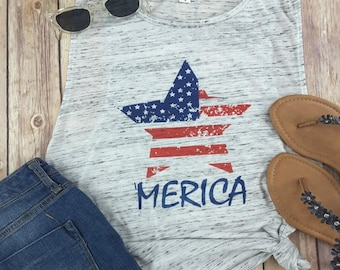 Merica, American Flag Shirt, star spangled, 4th of July, Independence Day, fourth of July, American, Flag, Patriotic, USA, muscle tee