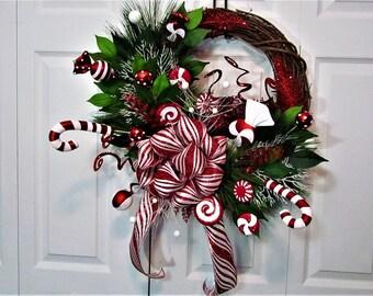 Christmas Wreath,Christmas Door Decoration,Front Door Wreath,Grapevine Wreath,Christmas Grapevine Wreath, Outdoor Wreath,Hostess Gift