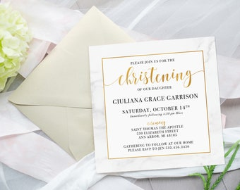 Gold and Marble Christening Invitation, Baptism, 5x5 Square PRINTABLE Invitation, Arbor Grace Collections