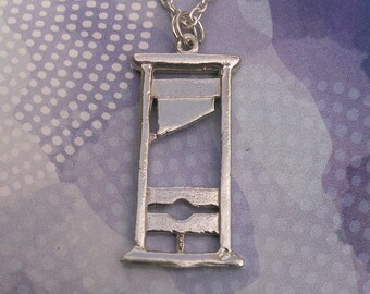 Sterling Silver Guillotine Charm Necklace