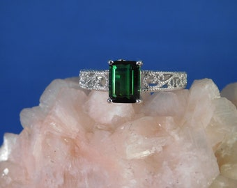 1.53 ct. Emerald Cut Green Tourmaline Ring 1920's Style Sterling Silver Filigree