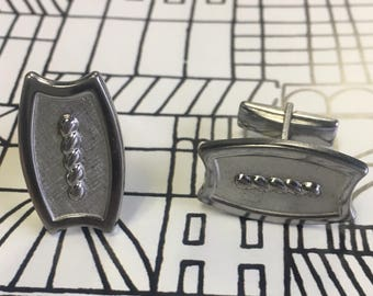 Vintage silver tone cufflinks by Swank *FREE SHIPPING*