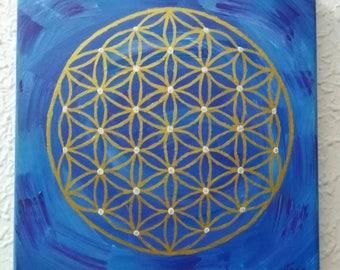 Acrylic, original box. Mandala.Flor of life