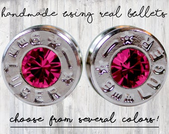 Ruby Stud - Bullet Earrings - Silver Jewelry - July Birthstone - Red Earrings - Ruby Jewelry - Holiday Gift - Bullet Jewelry - Ruby Earrings