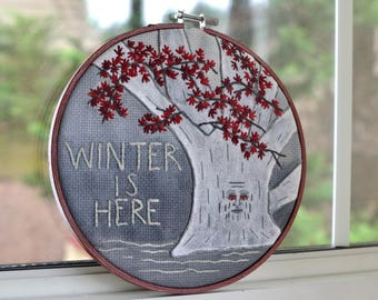 Winter is Here - Game of Thrones - Weirwood Tree - Embroidery Wall Hanging