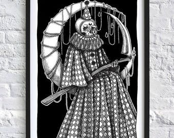 Decorated Dark Art Clown Grim Reaper on Moon Macabre Skull Skeleton A4 print